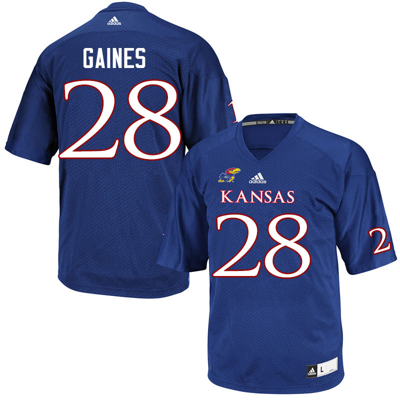 Men #28 Maurice Gaines Kansas Jayhawks College Football Jerseys Sale-Royal